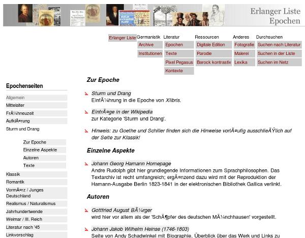 Screenshot Erlanger Liste