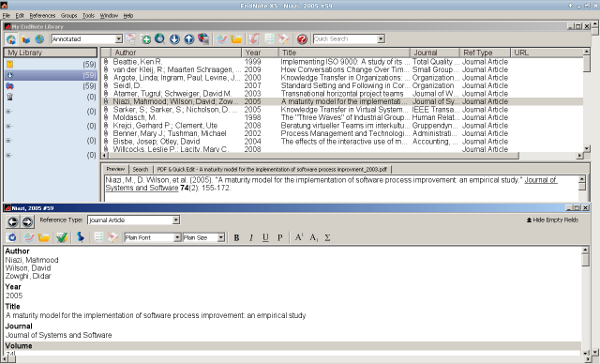 Screenshot EndNote