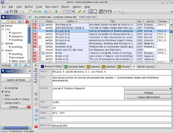 Screenshot JabRef