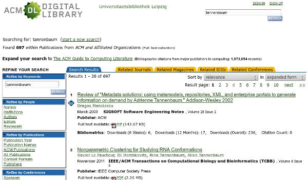 Screenshot ACM DL