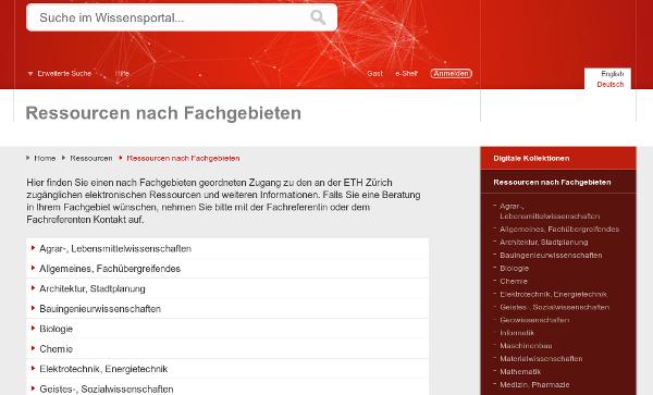 Screenshot Library ETH Zürich
