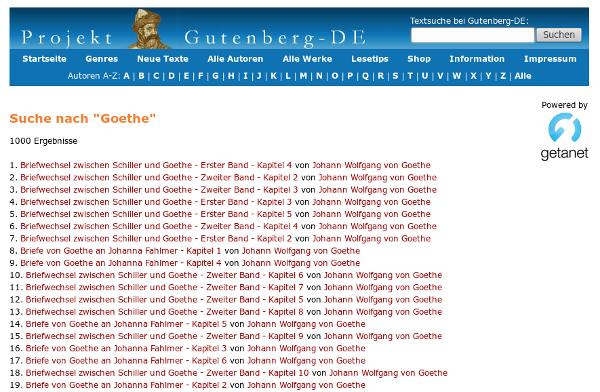 Screenshot Projekt Gutenberg-DE