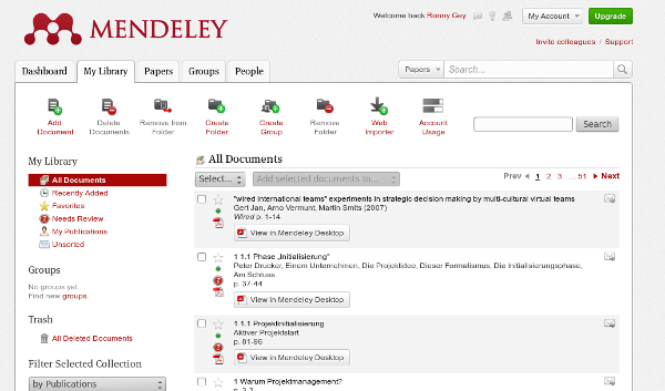 Screenshot Mendeley