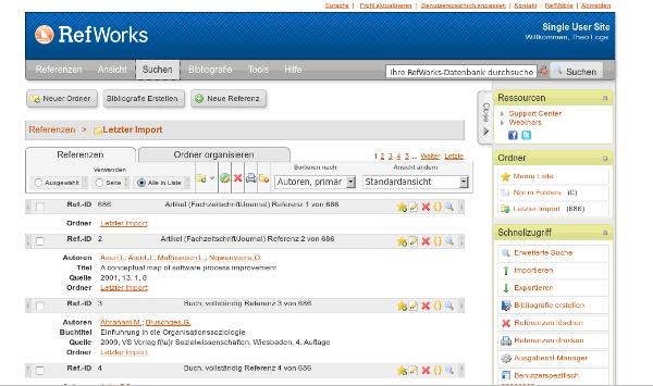 Screenshot RefWorks