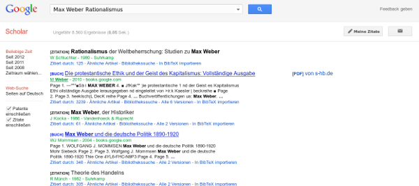 Screenshot Google Scholar