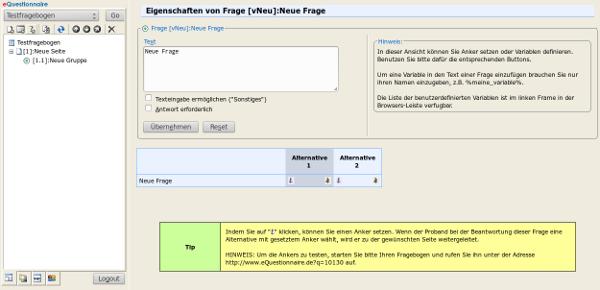 Screenshot 2 eQuestionnaire